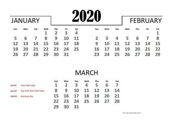 2020 New Zealand Excel Quarterly Calendar