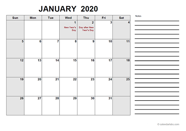 2020 New Zealand Free Calendar PDF Template