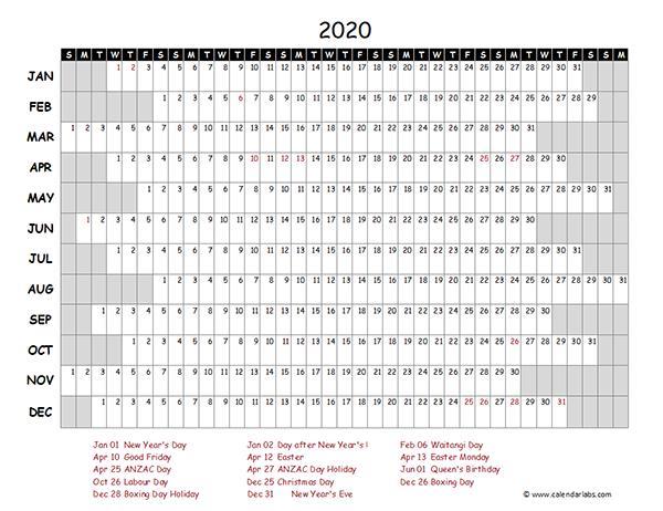 2020 New Zealand Project Timeline Calendar