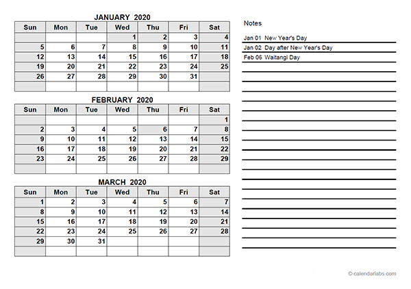 2020 New Zealand Quarterly Calendar Template