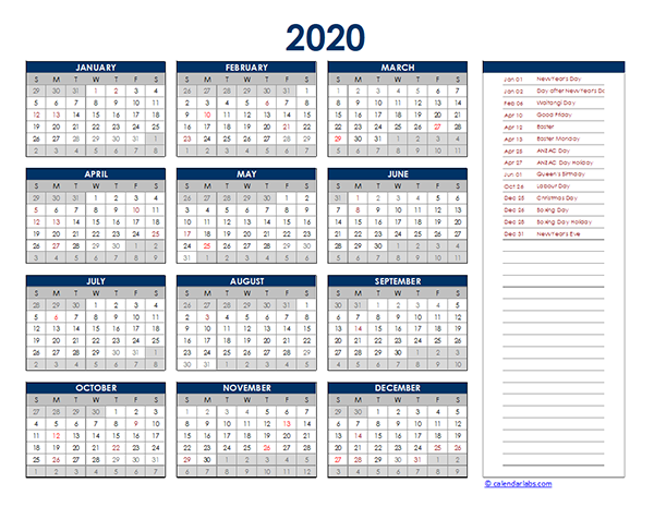 2020 New Zealand Yearly Excel Calendar