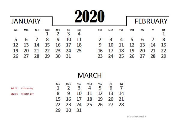 2020 Pakistan Excel Quarterly Calendar