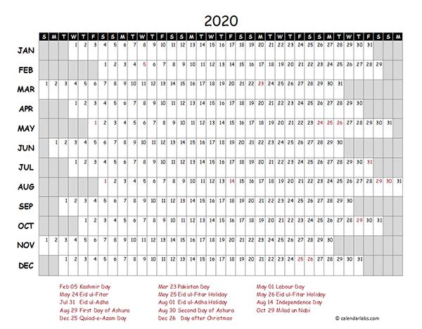 2020 Pakistan Project Timeline Calendar