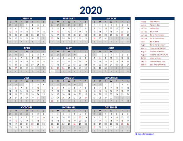 2020 Pakistan Yearly Excel Calendar
