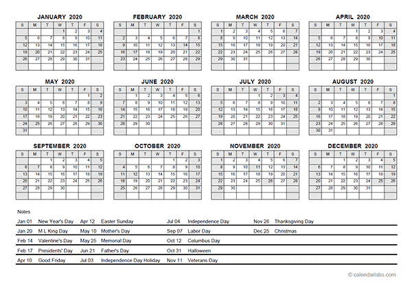 2020 PDF Yearly Calendar With Holidays