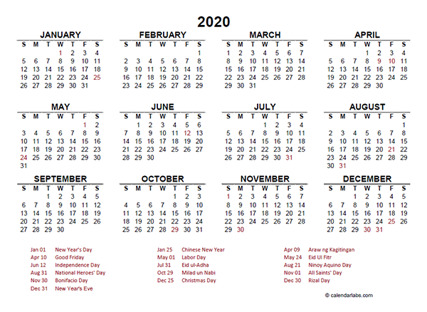2020 Philippines Yearly Calendar Template Excel Free Printable Templates