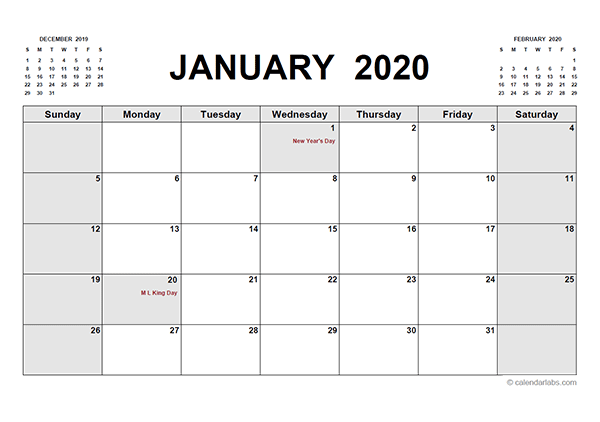 2020 Printable Calendar PDF