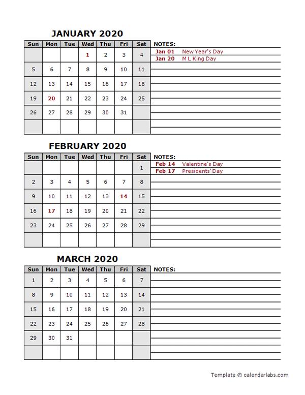 2020 Three Month Calendar Template
