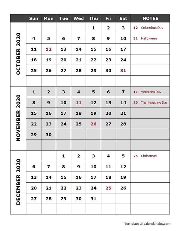2020 quarterly calendar template