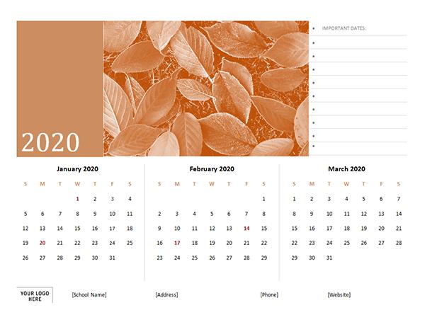 2020 Quarterly Word Calendar Template