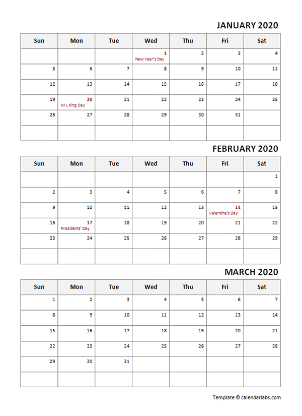 2020 Quarterly Calendar With Holidays
