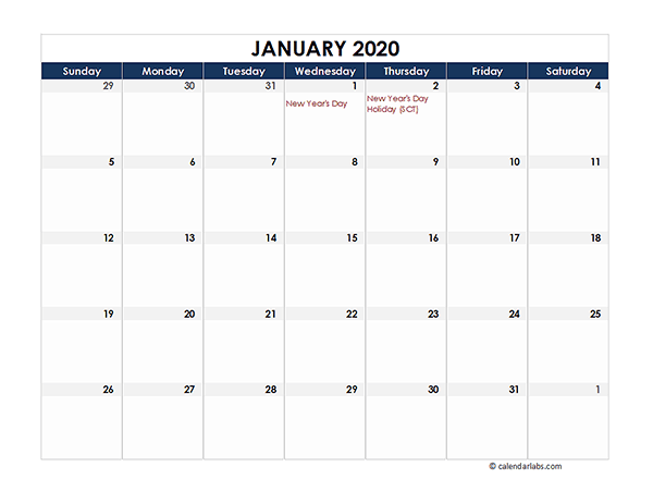 2020 Singapore Calendar Spreadsheet Template