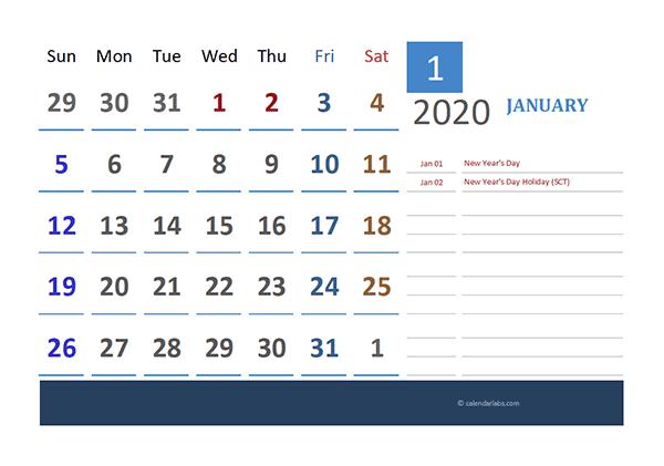 2020 Singapore Calendar for Vacation Tracking