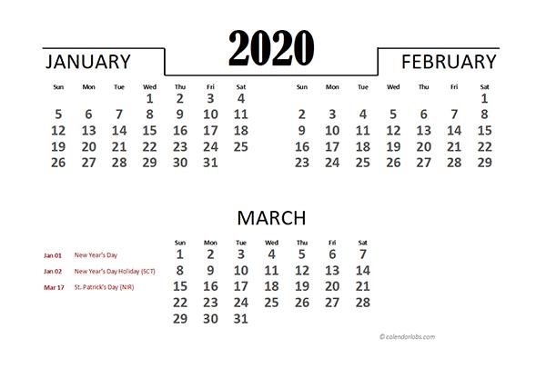2020 Singapore Excel Quarterly Calendar