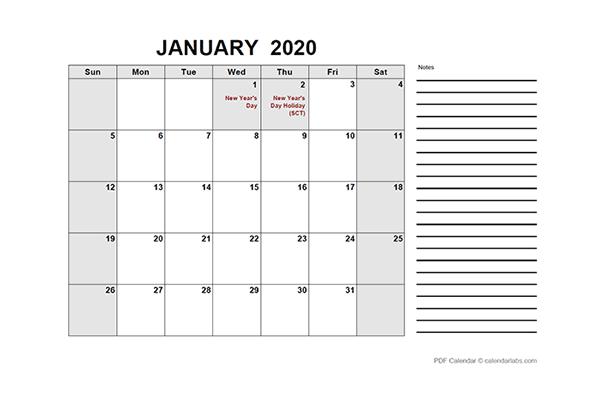 2020 Singapore Free Calendar PDF Template