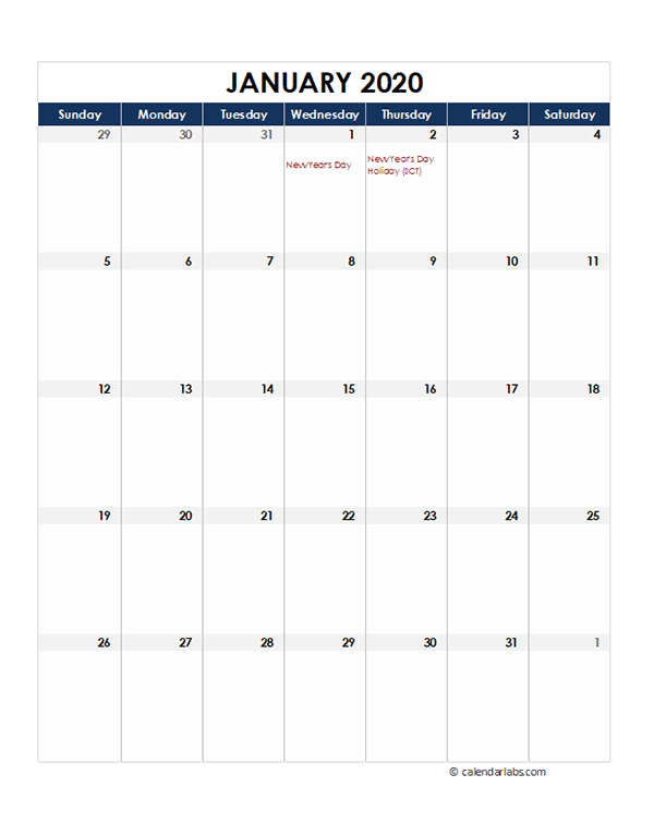2020 Singapore Monthly Excel Calendar
