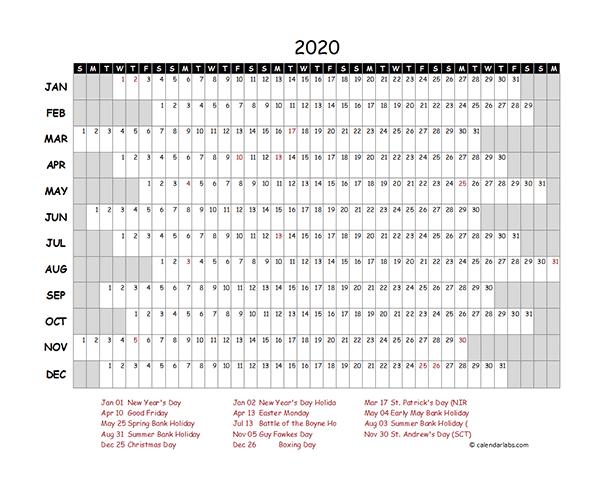 2020 Singapore Project Timeline Calendar