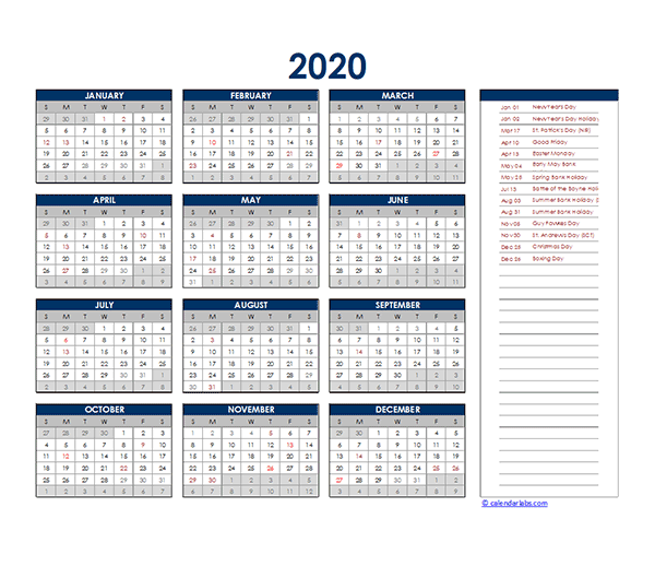 2020 Singapore Yearly Excel Calendar