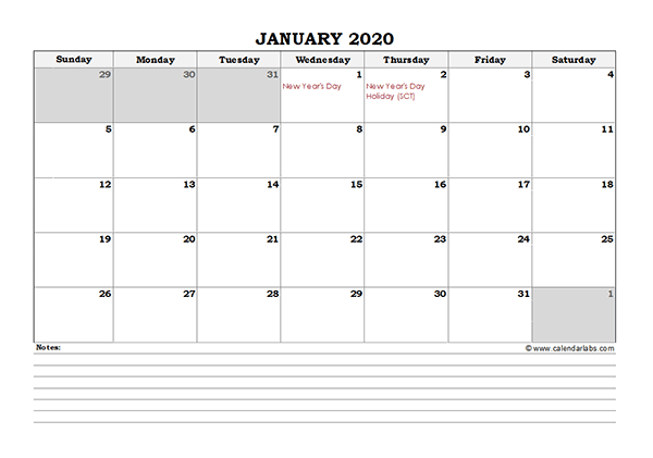 2020 South Africa Monthly Calendar with Notes