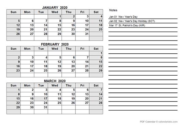 2020 South Africa Quarterly Calendar Template