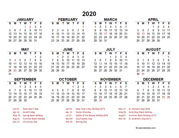 2020 South Africa Yearly Calendar Template Excel