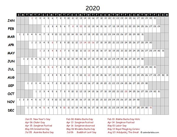 2020 Thailand Project Timeline Calendar