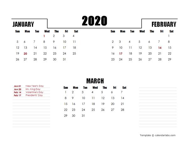2020 Three Months Calendar Template