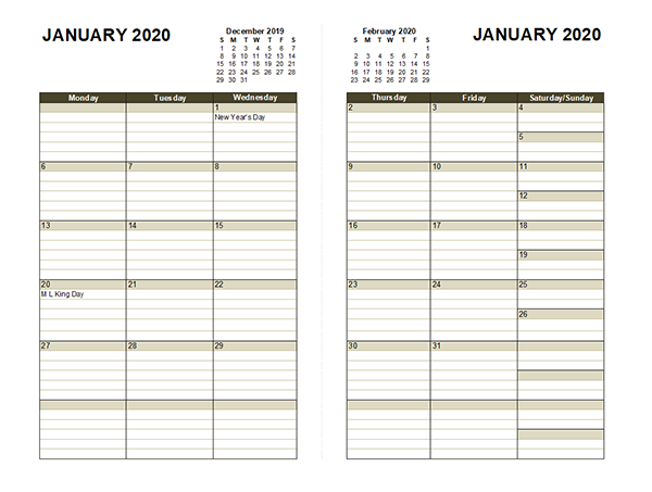 2020 Two Page Monthly Calendar A3