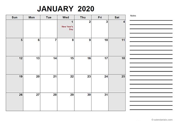 2020 UAE Free Calendar PDF Template