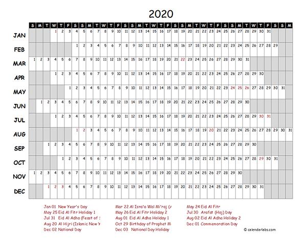 2020 UAE Project Timeline Calendar