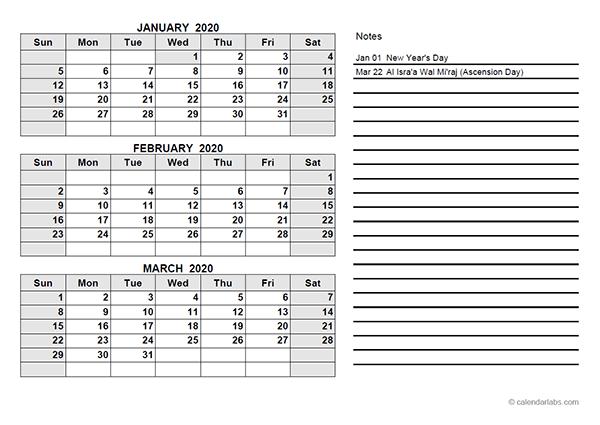 2020 UAE Quarterly Calendar Template