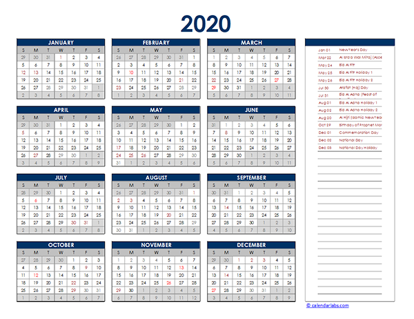 2020 UAE Yearly Excel Calendar