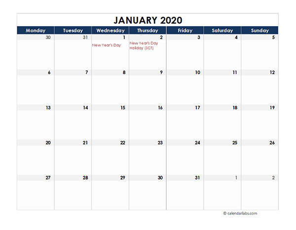 2020 UK Calendar Spreadsheet Template