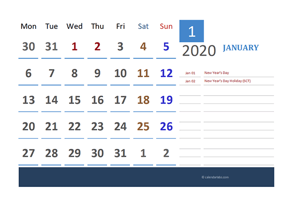 2020 UK Calendar for Vacation Tracking