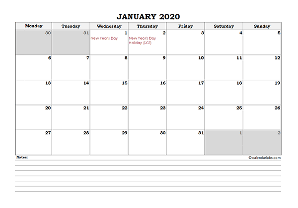 2020 UK Monthly Calendar with Notes