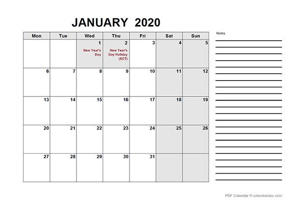 2020 UK Free Calendar PDF Template
