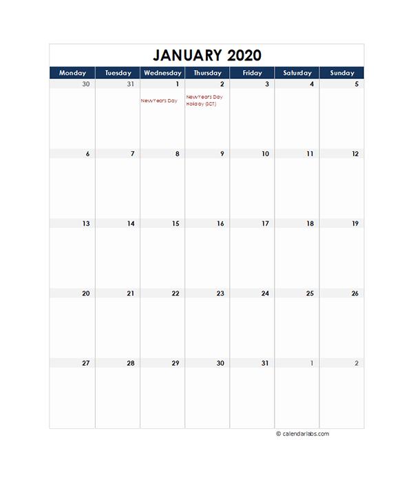 2020 UK Monthly Excel Calendar