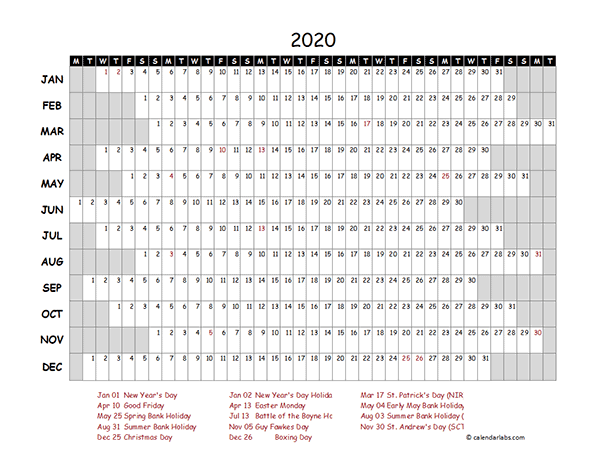 2020 UK Project Timeline Calendar