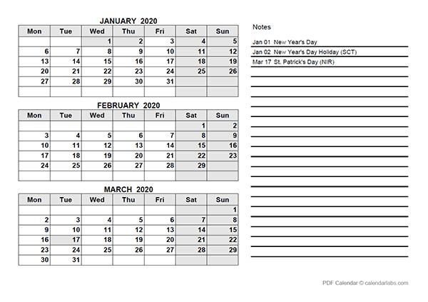 2020 UK Quarterly Calendar Template