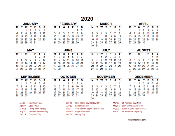 2020 UK Yearly Calendar Template Excel