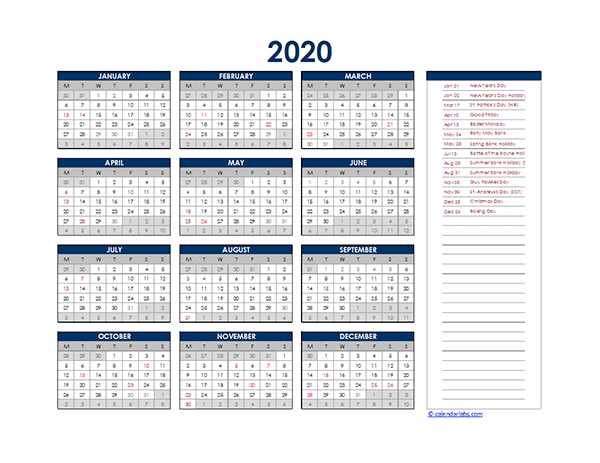 2020 UK Yearly Excel Calendar