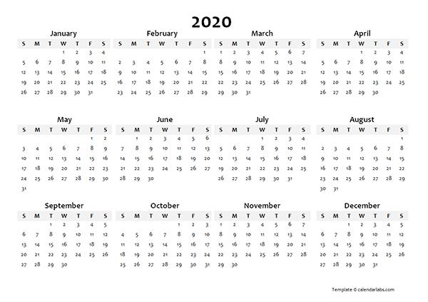 2020 Yearly Blank Calendar Template
