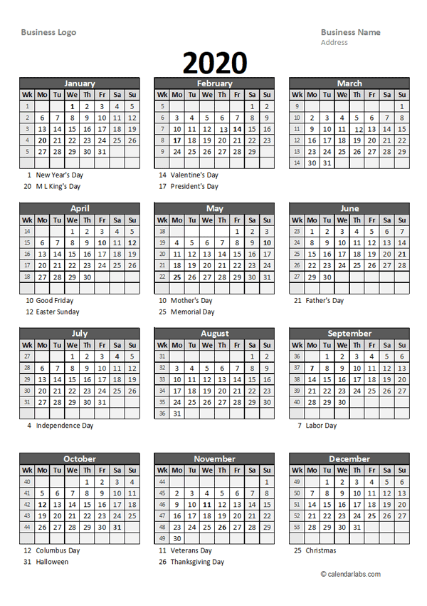 2020 Yearly Business Calendar with Week Number