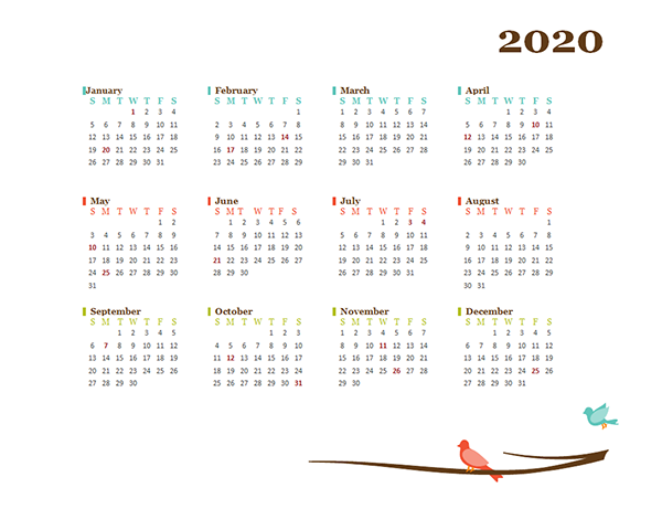 2020 Yearly Word Calendar Design Template