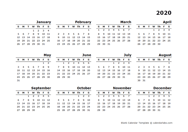 2020 yearly calendar blank minimal design