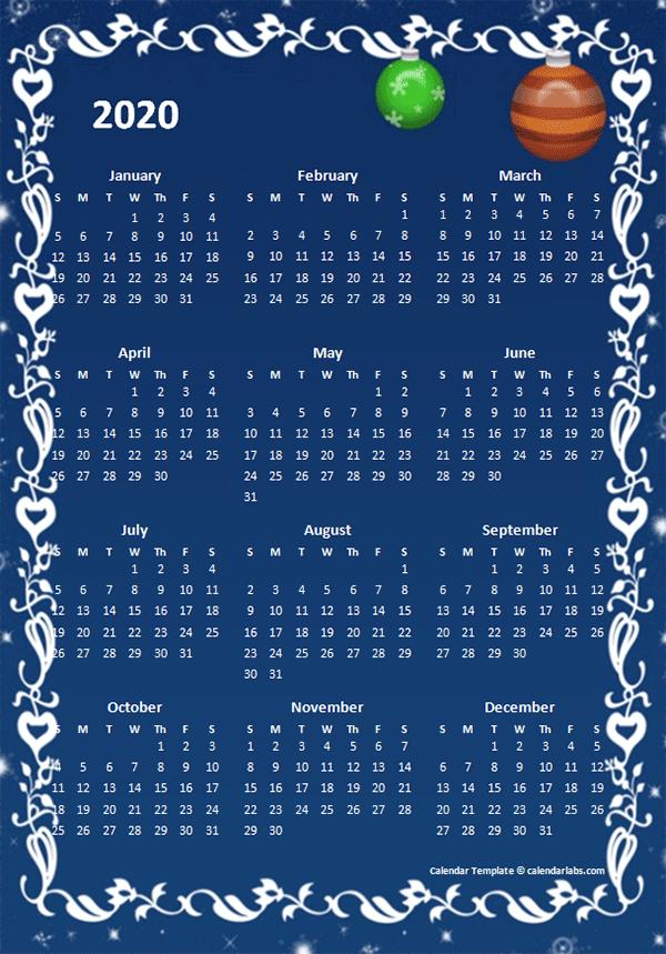 2020 Yearly Calendar Design Template
