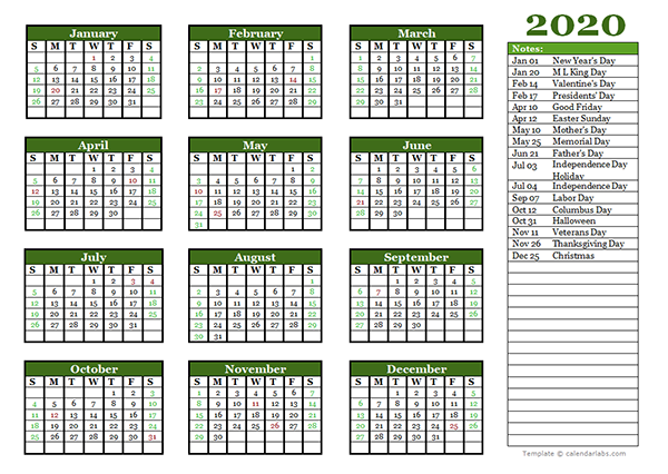 Editable 2020 Yearly Calendar Landscape