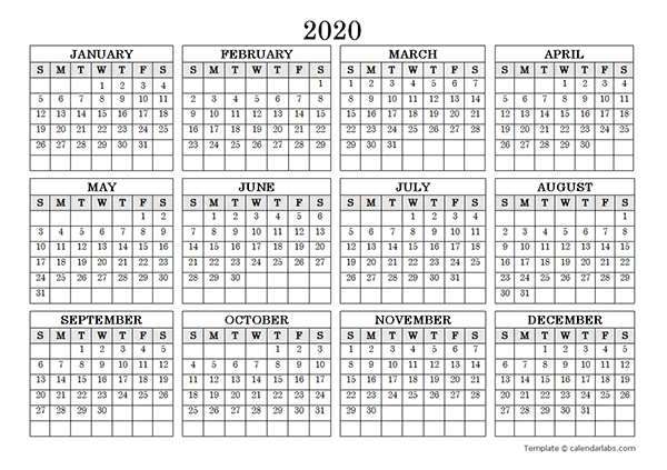 2020 Blank Yearly Calendar Landscape