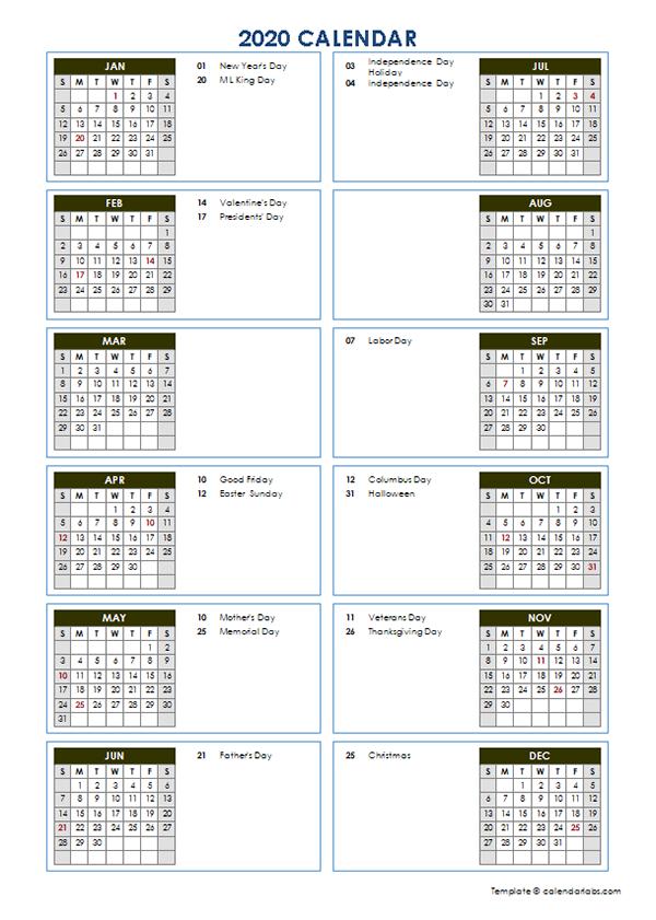 2020 Yearly Calendar Template Vertical Design
