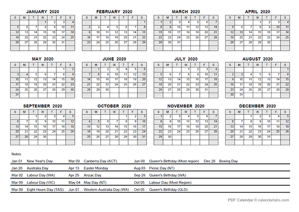 2020 Yearly Calendar With Australia Holidays